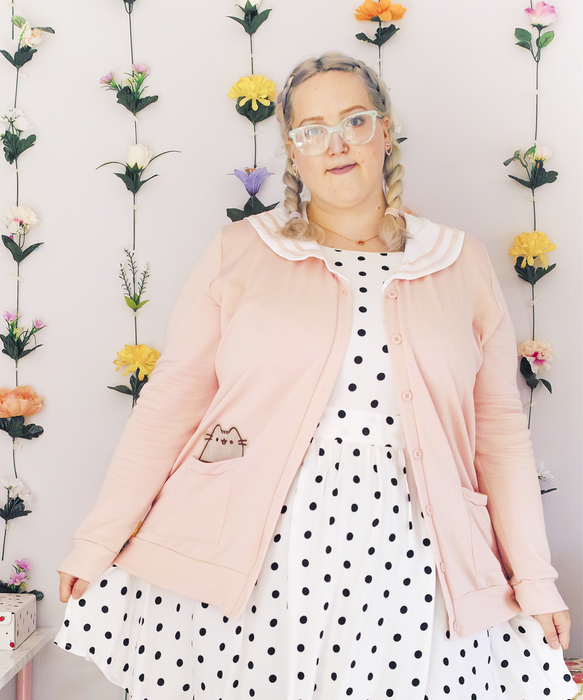 Pusheen Fleece Cardigan with Sailor Collar