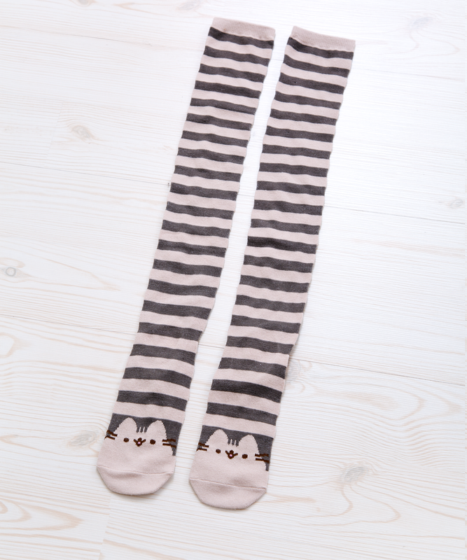 Pusheen Cream Striped Knee Socks
