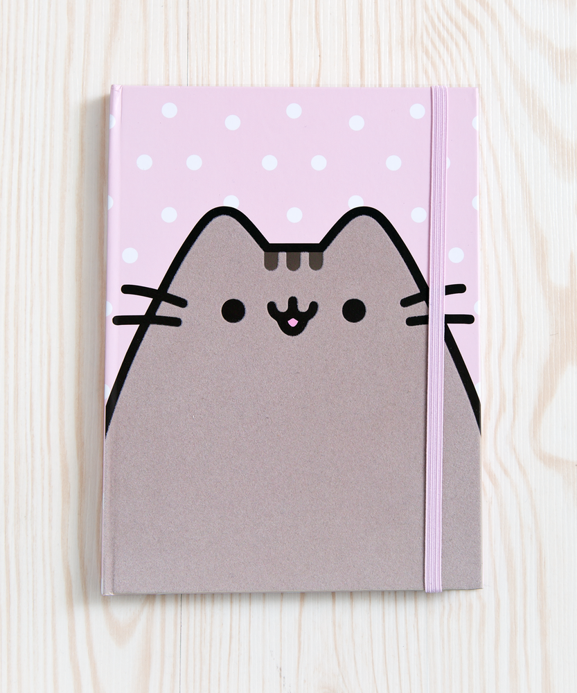 Polka Dot Pusheen Flocked Journal