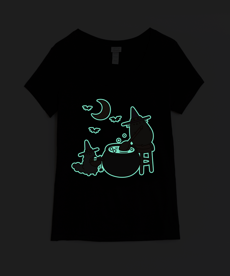Witch Pusheen Glow-in-the-Dark Ladies Junior Tee