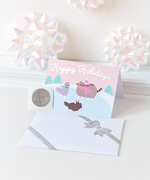 Pusheen Ice Skating Holiday Card
