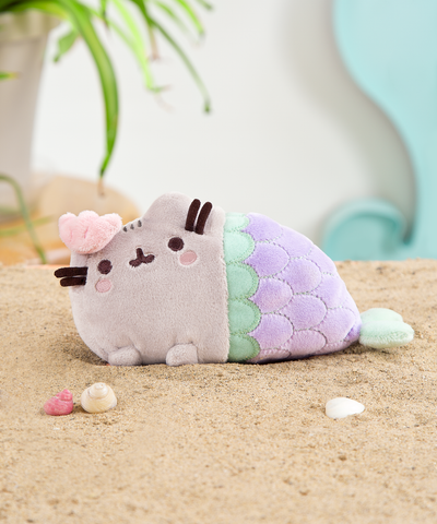 Mini Mermaid Pusheen plush toy in Lilac