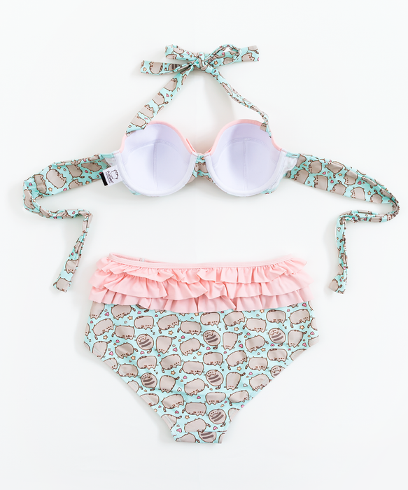 Pusheen Pink & Mint High Waisted Bikini Top