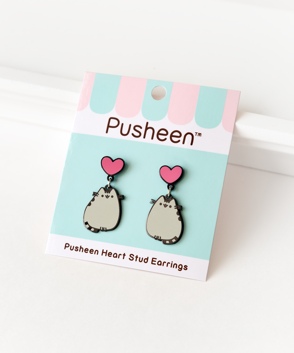 Heart Pusheen Stud Earrings