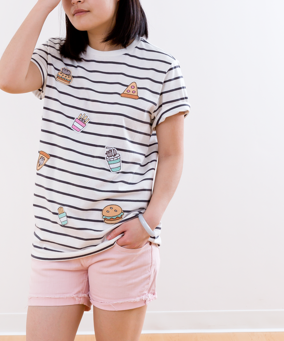 Pusheen Striped Snack Patch Unisex Tee