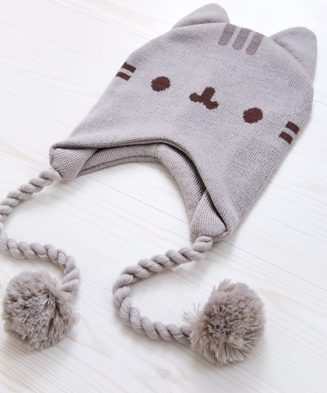 Pusheen Knit Hat with Pom Poms