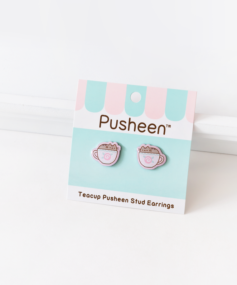Teacup Pusheen Stud Earrings