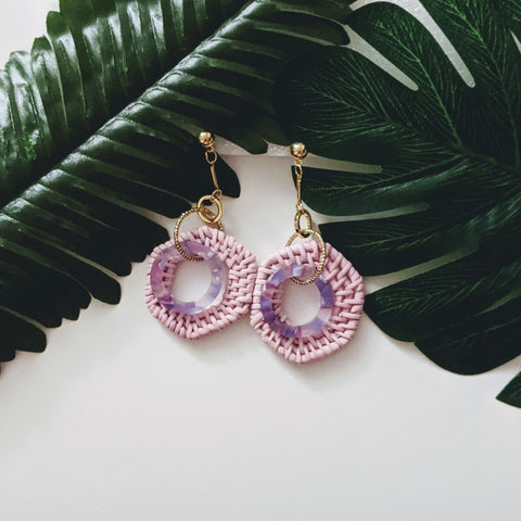 Accessories - Rattan Woven Double Hexagon Pink/Purple Earrings
