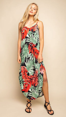 Black Maxi Dress with Red and Green Tropical Leaves