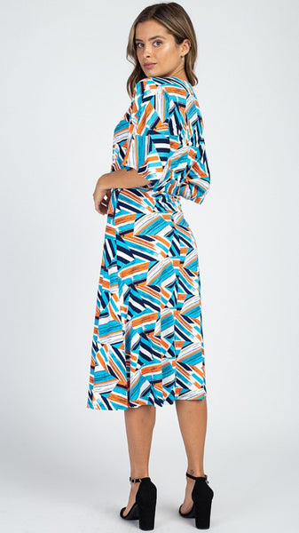 Geometric Blue Printed Midi Dress