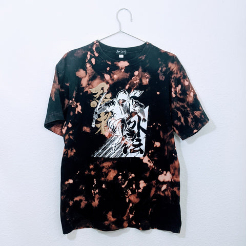Upcycled Samurai Graphic Acid Wash Tee (Size: L)