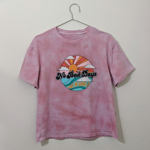 Upcycled Graphic Tie Dye Boxy Crop Tee (Size: S)