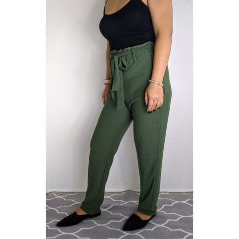 Forest Green Paper Bag High Waist Pants