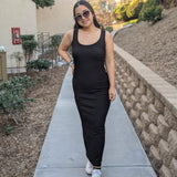 Black Ribbed Maxi Dress