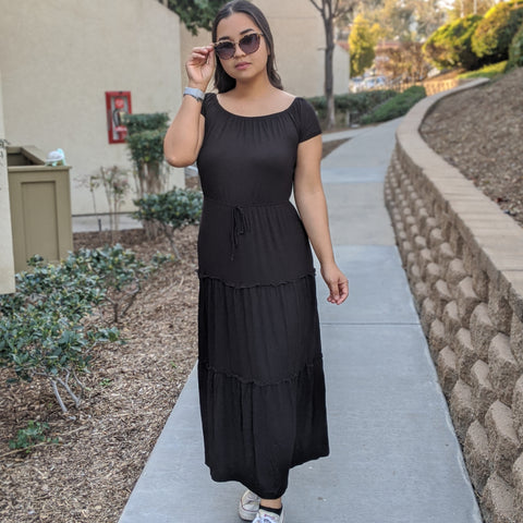 Tiers Off Shoulder Maxi Dress