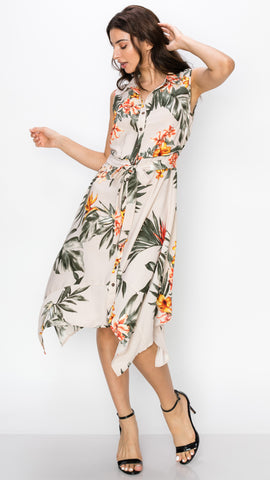 Sleeveless Button Down Tropical Floral Dress
