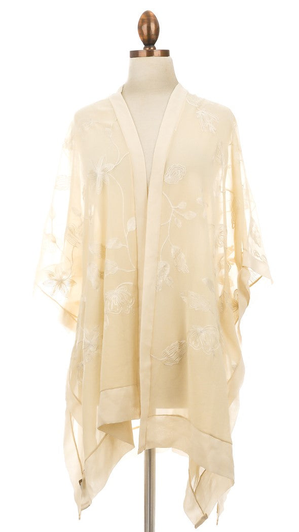 Cream Floral Sheer Embroidered Kimono Cover Up