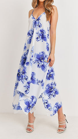 Royal Ivory Floral Print Maxi Dress