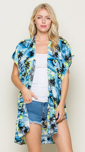 Blue Kimono Cover Up with Tropical Island Print