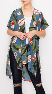Blue Kimono Cover Up with Hibiscus Floral Print