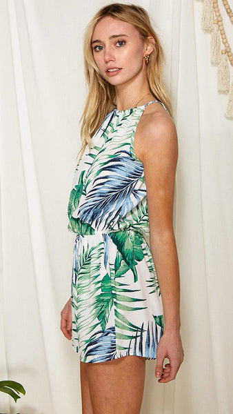 Tropical Print Halter Neck Romper