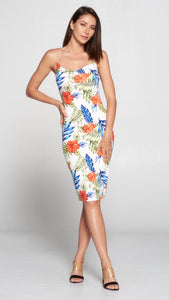 Tropical Floral Print Ivory Dress