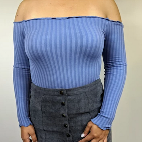 Periwinkle Off-Shoulder Ribbed Crop Top