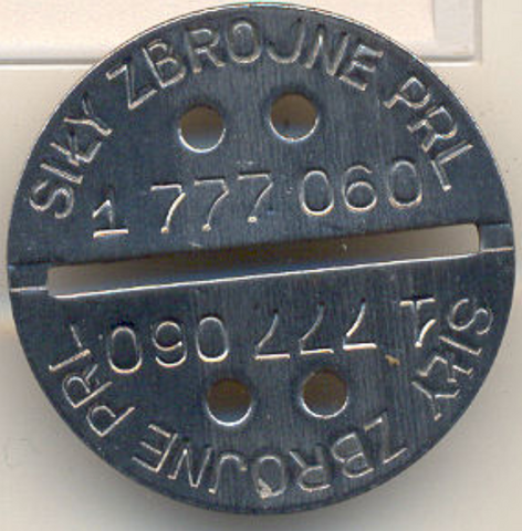 Polish military dog tag