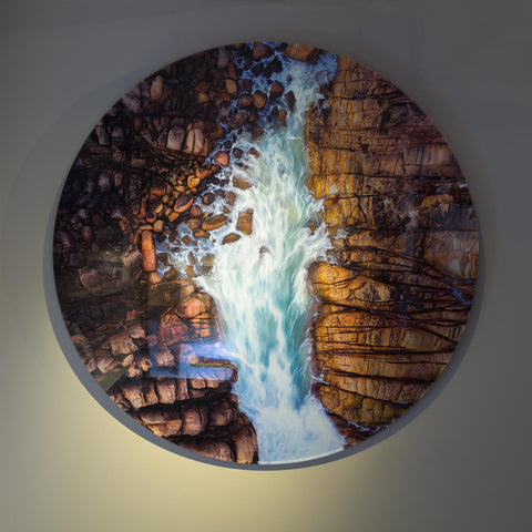Facemount acrylic framing circle Wyadup Rock tidal water through rocks Christian Fletcher Gallery photography aerial drone