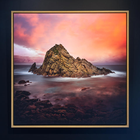 Canvas with timber shadow line frame Sugarloaf Rock Cape Naturaliste sunset Western Australia