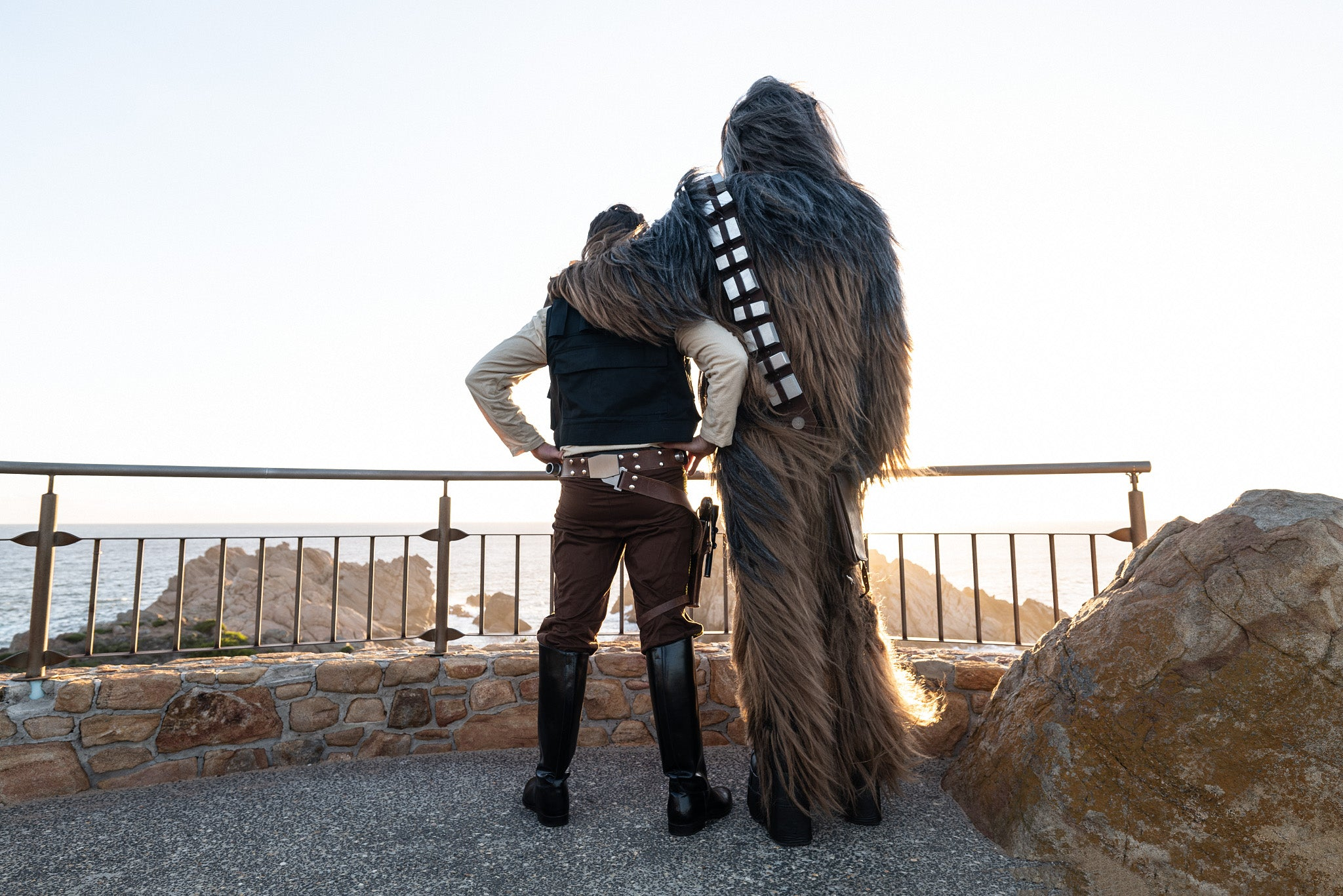 Han Solo and Chewie standing at Sugarloaf Rock looking at the sunset in the south west of Western Australia