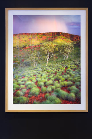 Timber frame Karijini National park sunset with spinifex and rainbow at sunset photography landscape