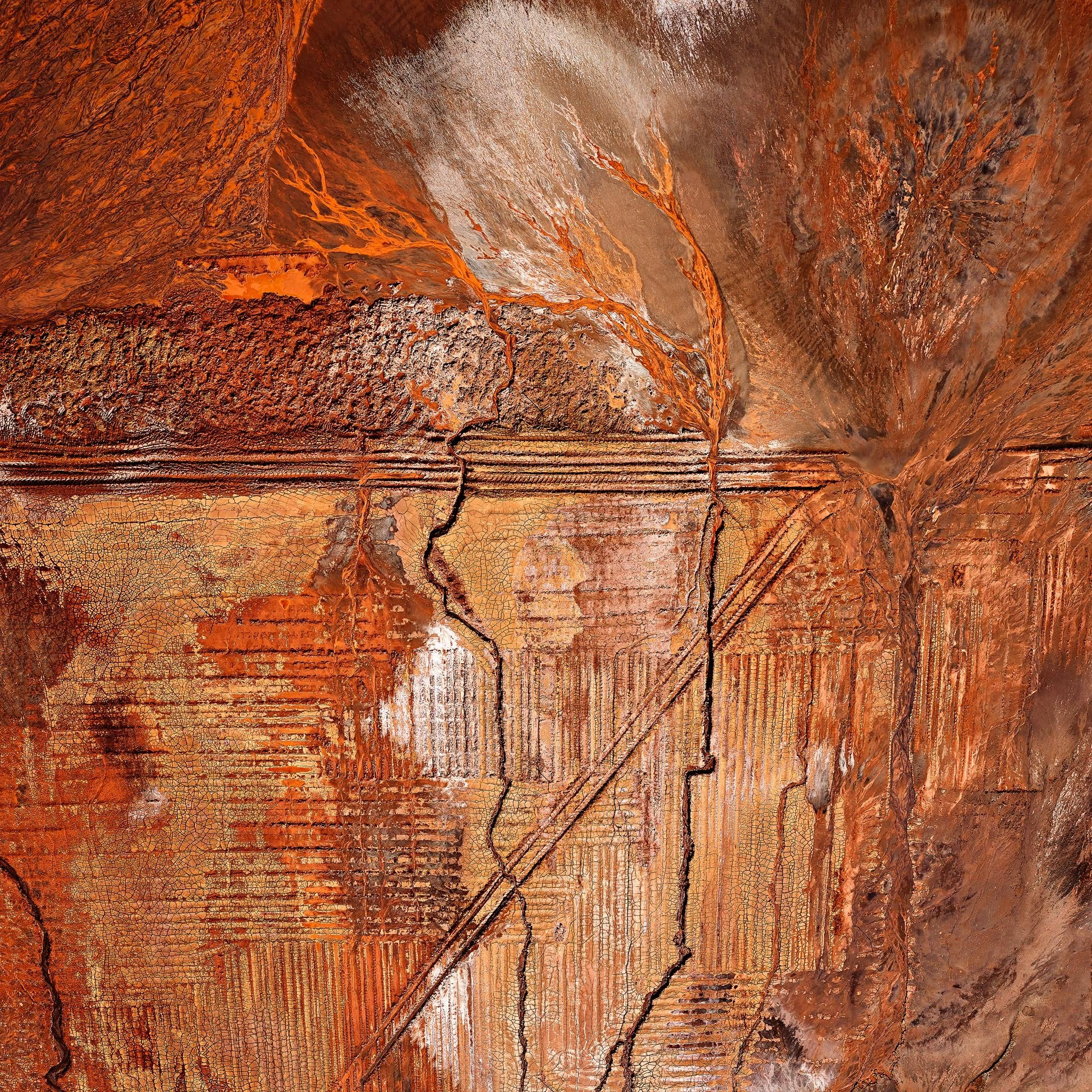 Mining aerial photography, orange patterns, tapestry Western Australia photographer Christian Fletcher