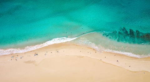 Smiths Beach aerial photograph, blue water, surfers, beach, waves