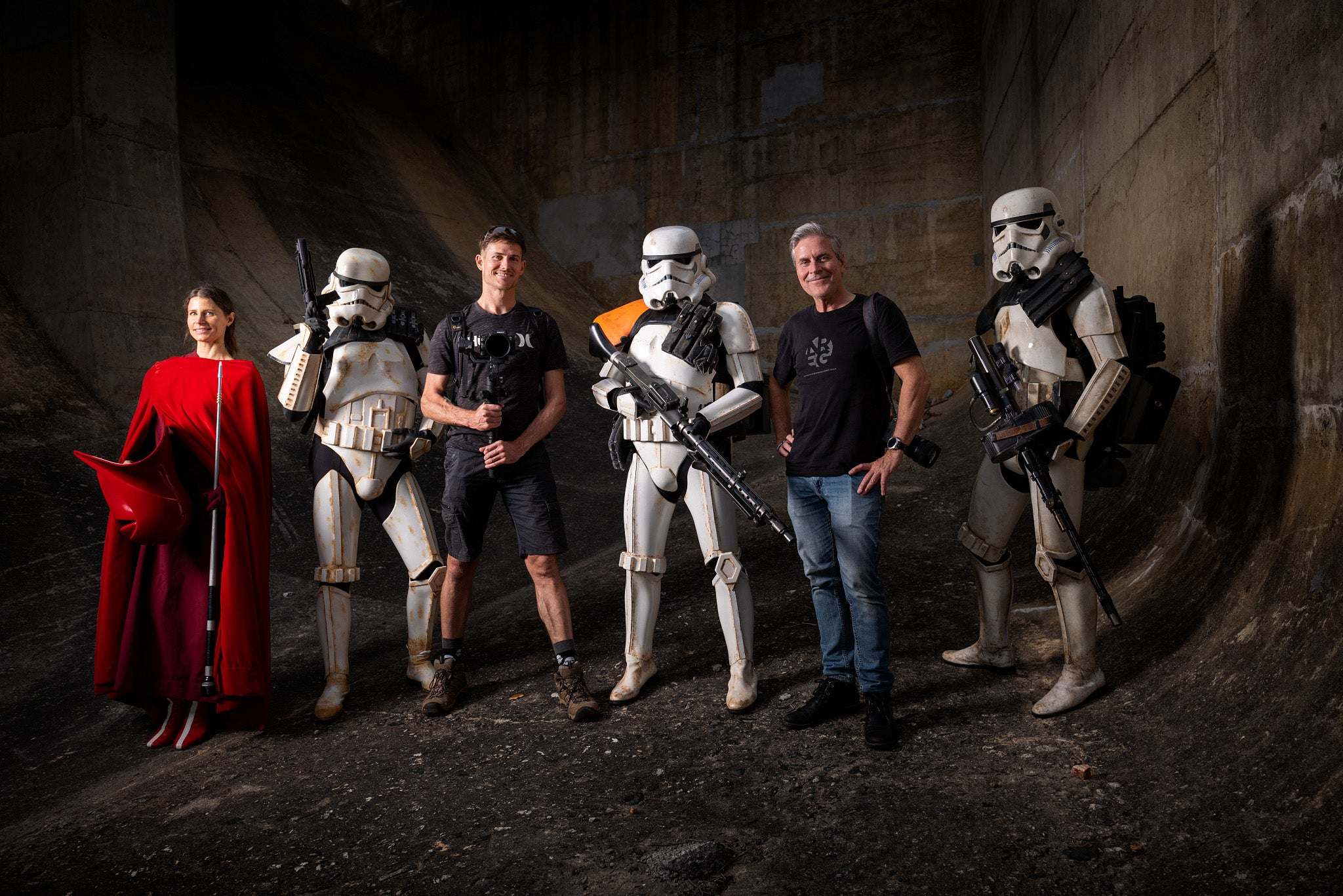 Star Wars characters and crew on a shoot at the canning dam in Western Australia