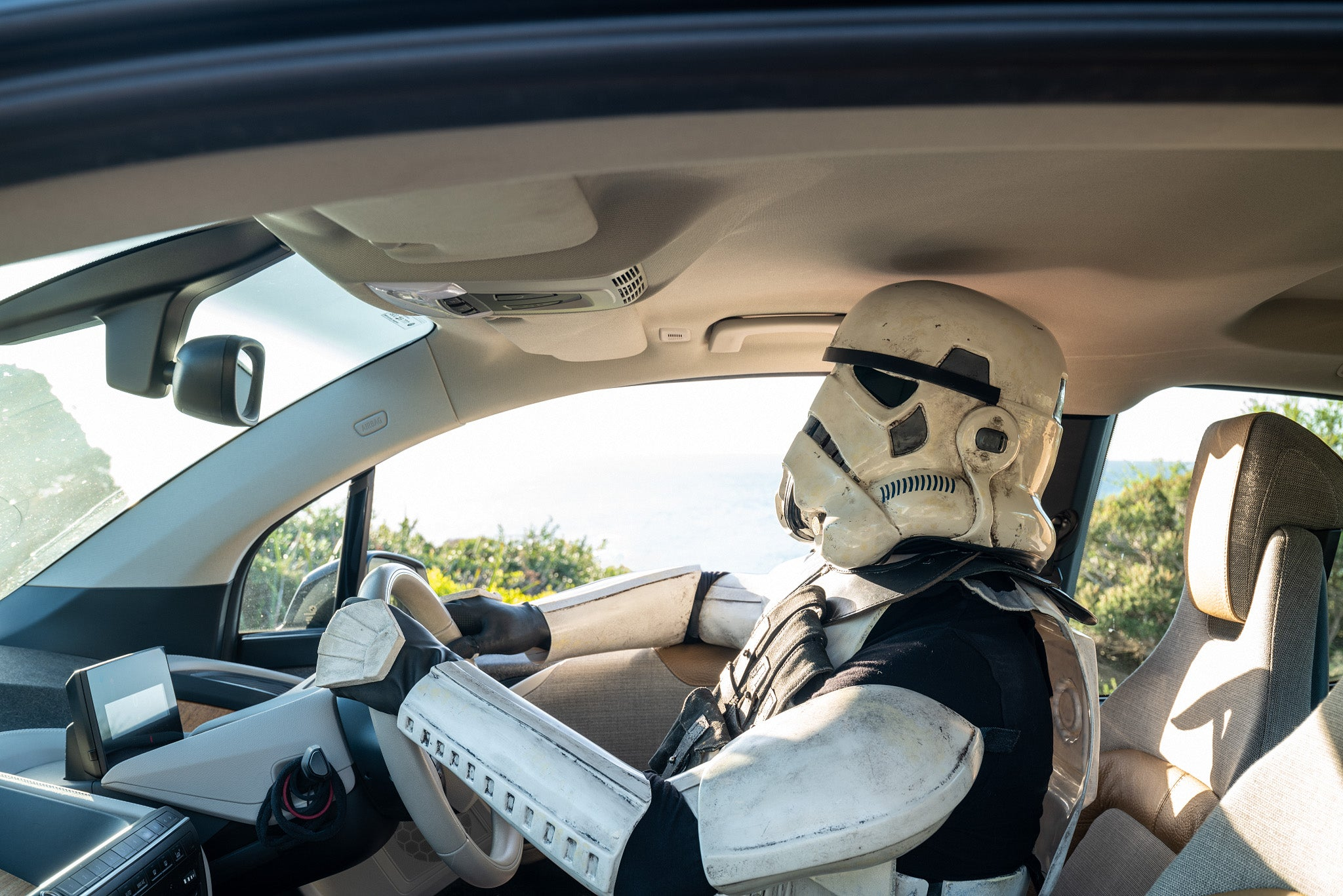Stormtrooper driving a BMW i3 at Sugarloaf Rock in the South West of Western Australia
