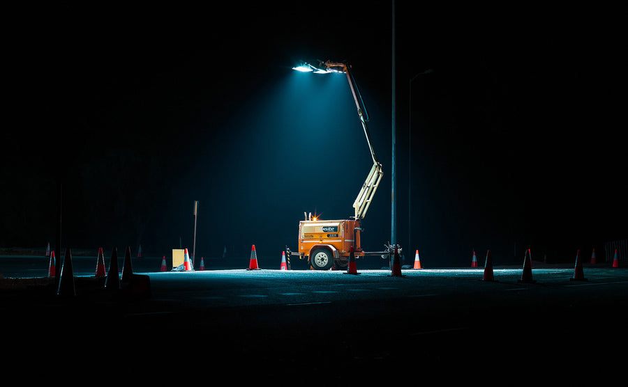 Flood lights at nights, roadworks, traffic cones and controls.  Highway Busselton to Bunbury, South Western Australia