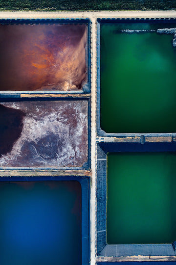 Patterns from a tailings dam, green and blue ponds, dam, salt lake, drone aerial photography around  South Western Australia near Busselton and Bunbury. by award winning photographer Christian Fletcher