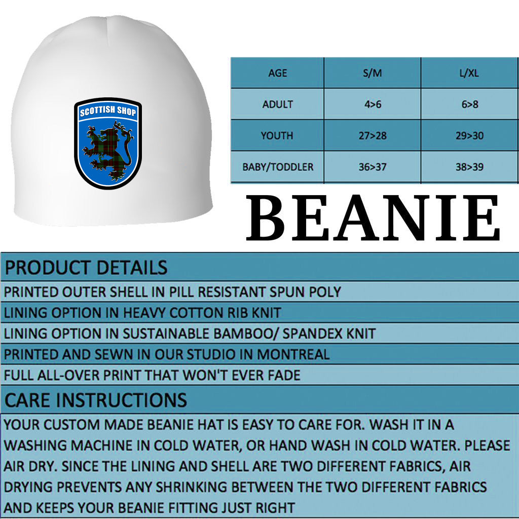 Tartan Beanies Product Details and Sizing