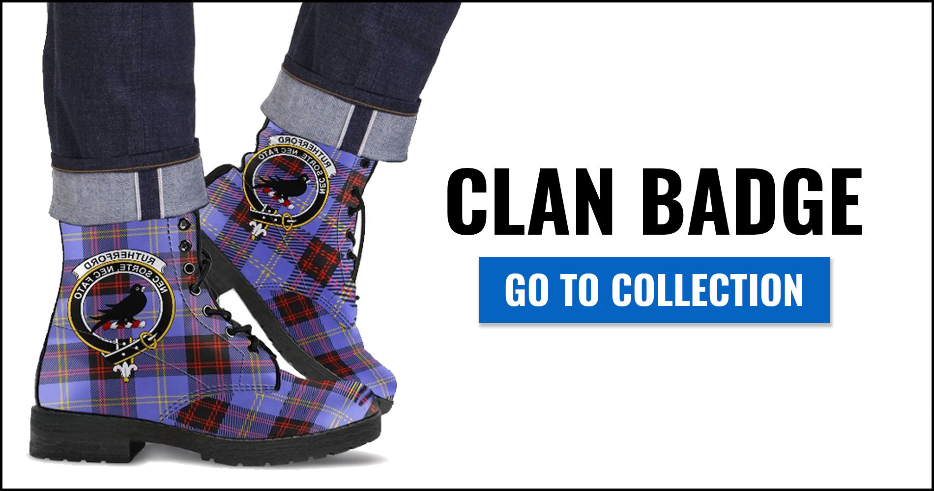 Clan Badge Tartan Leather Boots
