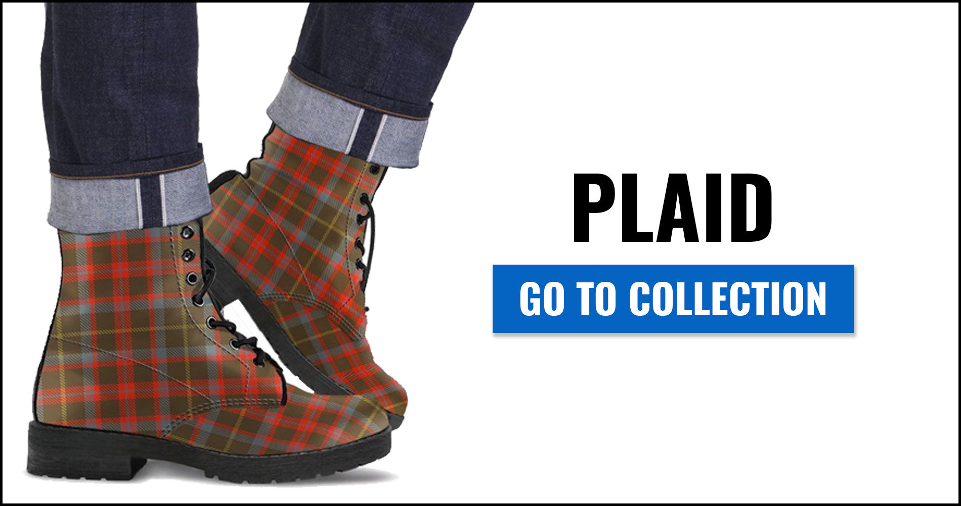Plaid Tartan Leather Boots