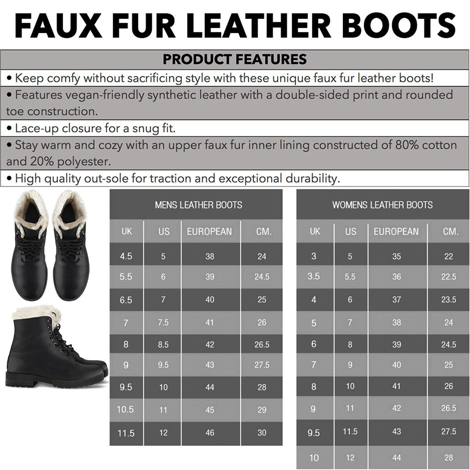 Tartan Faux Fur Leather Boots Product Details and Sizing