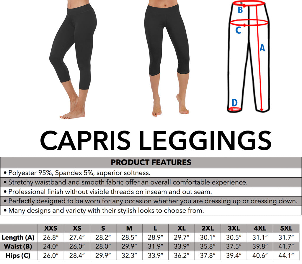 Tartan Capris Leggings Product Details and Sizing