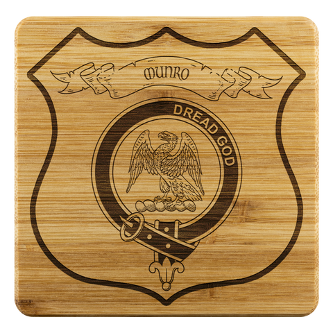 Image of Tartan Bamboo Coaster - Munro Wood Coaster With Clan Crest K7