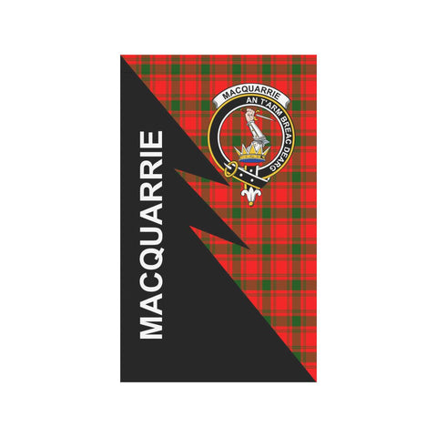 Garden Flag - Clan MacQuarrie Plaid & Crest Tartan Flag - 3 Sizes - Flash Style