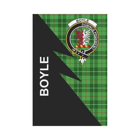Garden Flag - Clan Boyle Plaid & Crest Tartan Flag - 3 Sizes - Flash Style