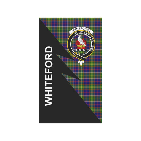 Garden Flag - Clan Whiteford Plaid & Crest Tartan Flag - 3 Sizes - Flash Style