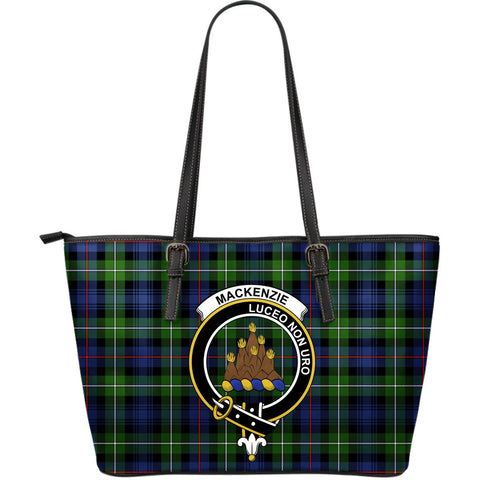MacKenzie Tartan Clan Badge Leather Tote Bag (Large) |  Over 300 Clans And 500 Tartans | Special Custom Design