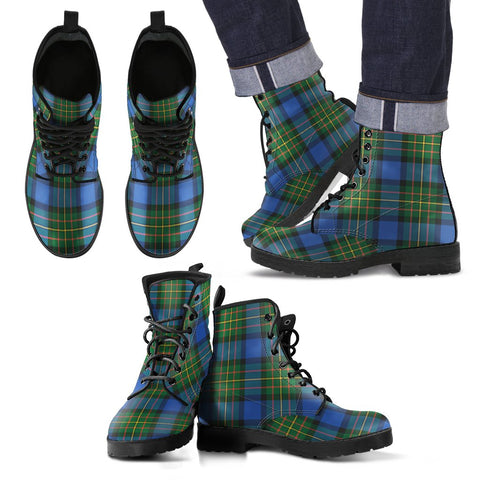 Leather Boots - Clan MacLaren Ancient Plaid Boots