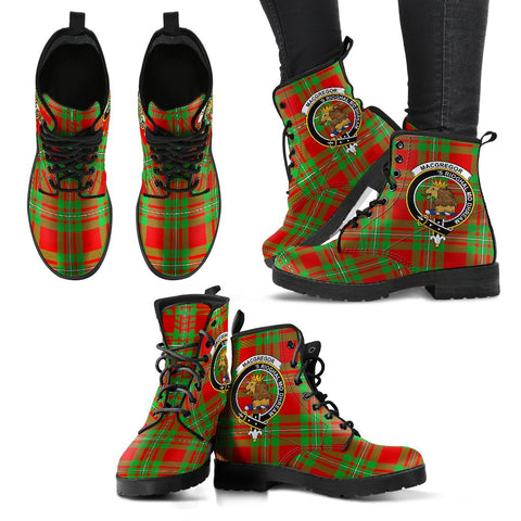 Leather Boots - Clan MacGregor Modern Plaid Boots With Crest